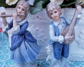 Porcelain Man and Woman with Musical Instruments