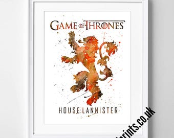 Game of Thrones Art - Watercolor Poster - Print - Watercolour Print - Wall Art - Canvas - Gift Idea - Framed - Picture