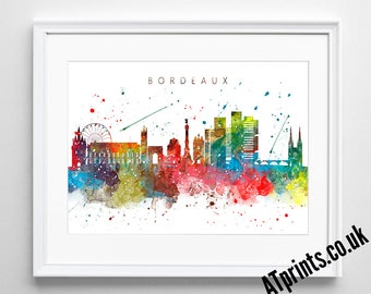 Bordeaux skyline Watercolor Poster - Print - Watercolour Print - Wall Art - Canvas - Gift Idea - Framed - Picture