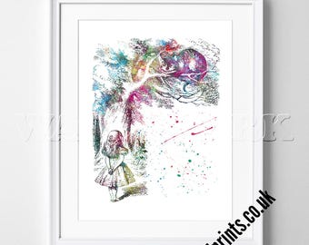Alice in Wonderland - Watercolor Poster - Print - Watercolour Print - Wall Art - Canvas - Gift Idea - Framed - Picture- Disney