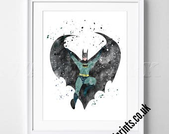 Batman - The Dark Knight - Watercolor Poster - Print - Watercolour Print - Wall Art - Canvas - Gift Idea - Framed - Picture