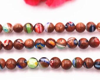 BA-127 1 Full strand 6mm 8mm 10mm Gold Goldstone Round Beads Gold Beads Smooth Round Sparkle Beads Smooth Shiny Beads