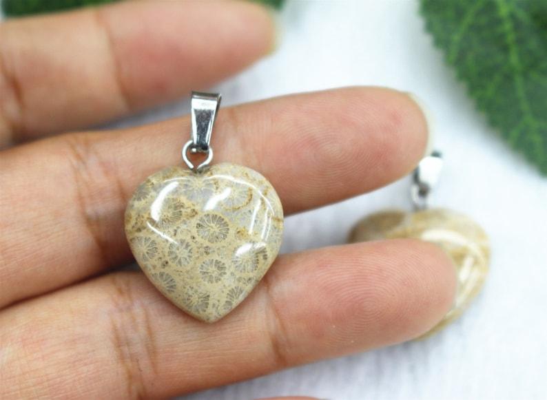 5pcs Fossil Coral Pendant 20mm Pillar Point Pendant Necklaces,Fossil Coral heart Pendant Handmade Jewelry Column Pendant,Pendants wholesale