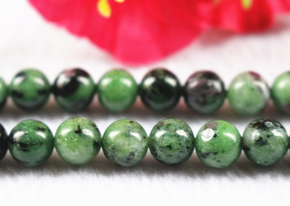 """6mm 8mm 10mm 12mm Red Green Ruby Zoisite Round Loose Beads 15/"""" Strand AA"""