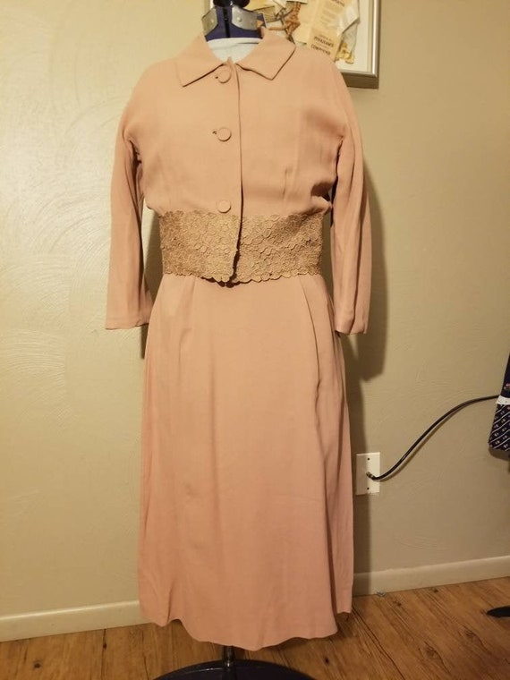 1940s pink dress and jacket set