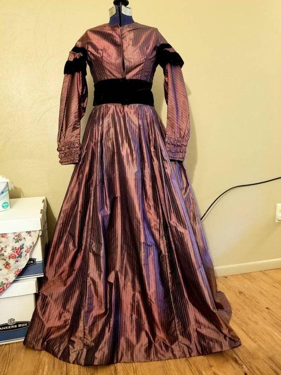 1860s Civil War era victorian purple silk dress