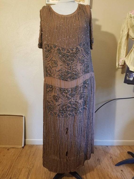 1920s beaded flapper dress evening gown