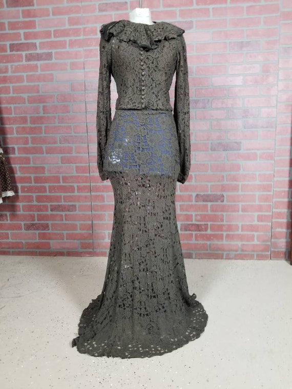 1930s lace evening gown and jacket set