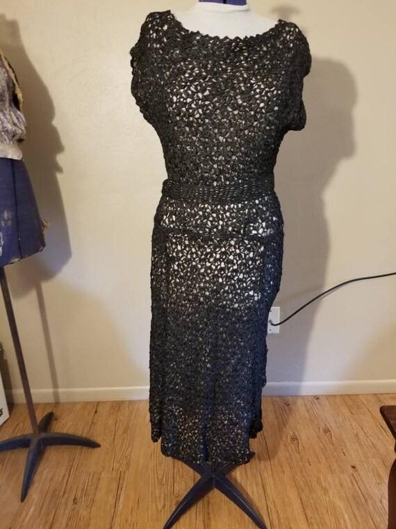 1950s black knit illusion dress