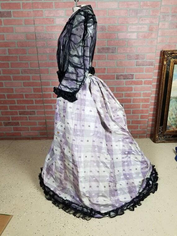 Antique 1870s bustle dress purple silk