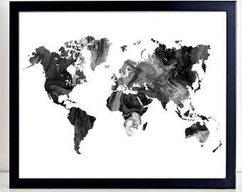 Black white map art etsy world map marble worldmap large world map art world map outline gumiabroncs Choice Image