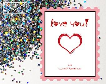 Glitter Bomb Letter Joke Mail: Love You! - Valentines Day