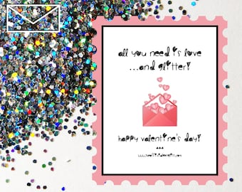 Glitter Bomb Letter Joke Mail: All you need is love and glitter! Happy Valentine's Day! - Valentines Day