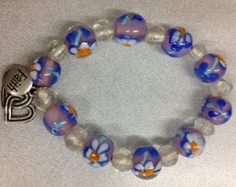 Glass lamp work beaded stretch bracelet
