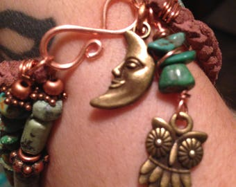 Triple strand turquoise leather and copper bracelet