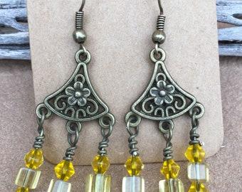 Antique Brass Chandelier yellow glass bead earrings