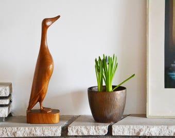 Vintage Duck 1960s Teak Sculpture Mid Century Animal Simple Elegant Wood Sixties German Danish Modern