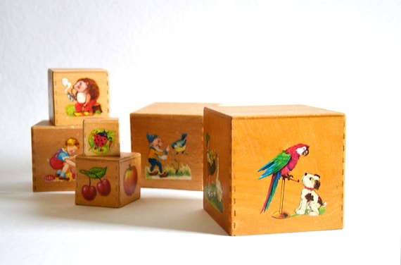 Piling And Building Blocks 1960s Germany Toys Wood Children