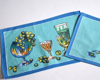 Placemat / napkin / 1960s / turquoise / mid blue / tablecloth / tablemat / Germany / vintage / boho / modern kitchen / mid century