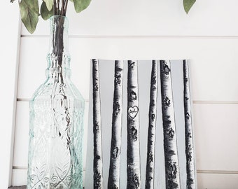 Custom Birch Tree Painting, Personalized Gift, Birch Tree Art, Initials, Wedding Gift
