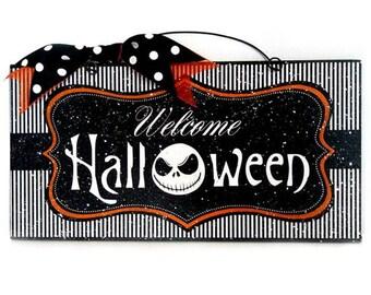 Jack Skellington Welcome Halloween sign.