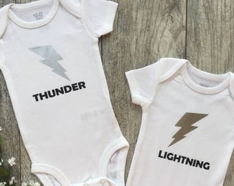 Thunder and lightning, twins, twin outfits, twin bodysuits, baby gift, newborn outfit, newborn, baby clothes, baby, ivf bodysuits, ivf baby