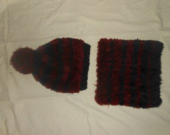 Hat and cowl knit by hand