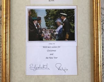 Queen Elizabeth II & Prince Philip Signed Christmas Card Framed 2004