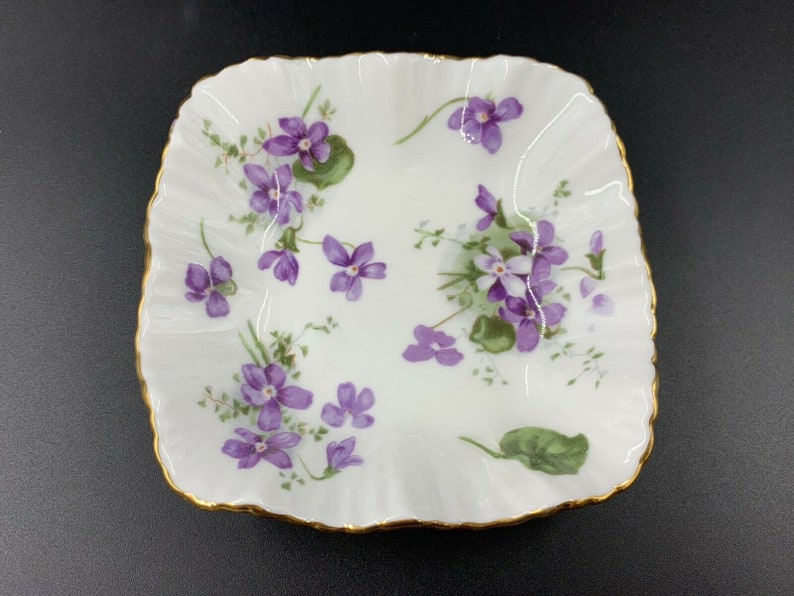 Hammersley Victorian Violet Square Sweet Candy Nut Dish Bone China England