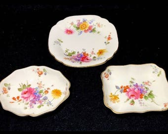 Royal Crown Derby Posies Set Of 3 Sweet Candy Dishes Bone China England