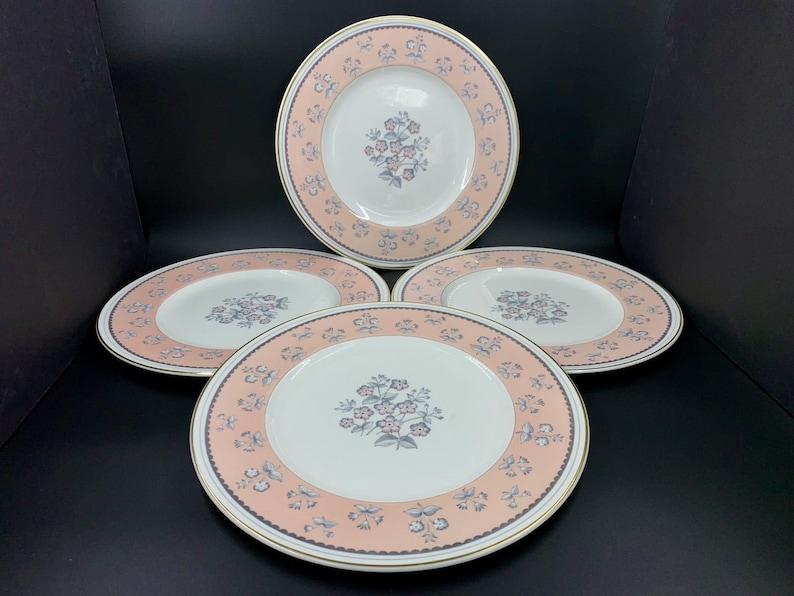 Wedgwood Pink Pimpernel 10.5 Dinner Plates Set of 4 Bone China England