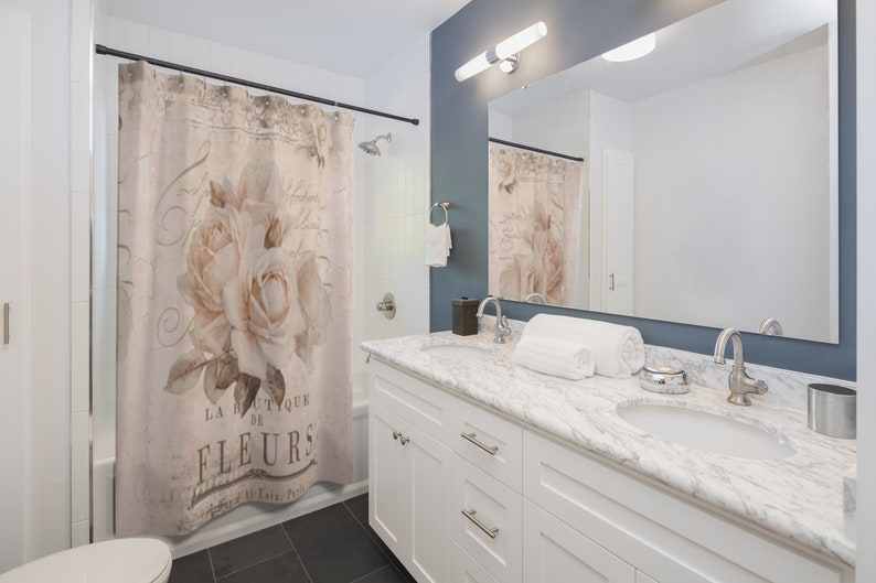 Shower Curtains Shabby Chic Shower Curtains Bathroom Decor Retro Paris Shower Curtain French Style Luxury Floral Shower Curtain