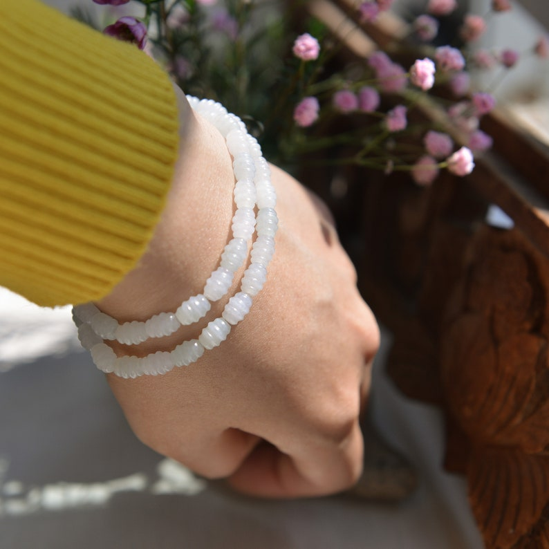 Natural Type A Jadeite Jade beaded Double wrap Elastic bracelet Traditional Chinese artReady to shipstyle1385
