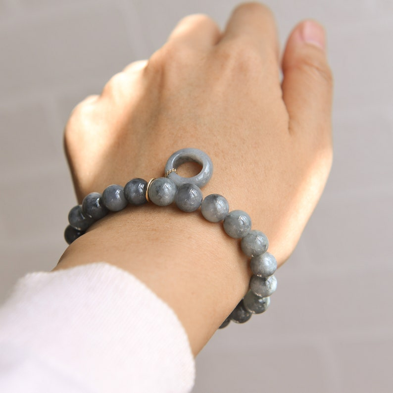 Traditional Chinese artReady to shipstyle1092B Natural Type A Jadeite Jade Black Chicken beaded Elastic bracelet