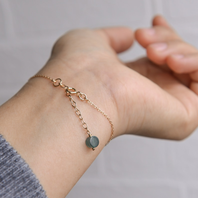 Natural Type A Icy waxy Jadeite Jade Snail 14K Gold Filled thin chain bracelet Ready to shipstyle1243