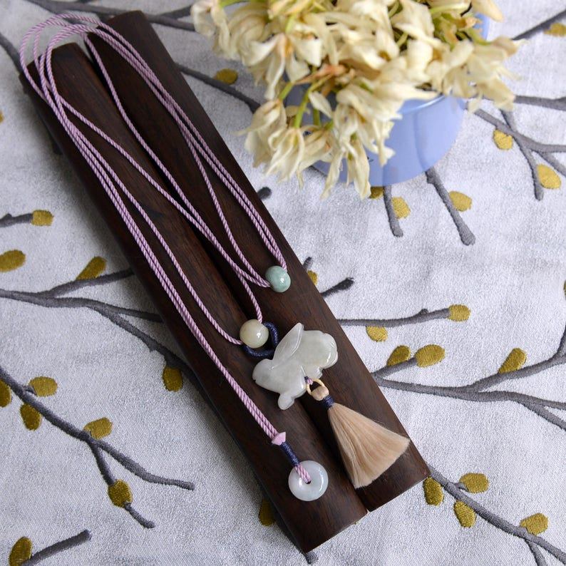 Jade Moon HareREADY TO SHIPstyle74 Traditional Chinese knotting art Jadeite Jade Rabbit Chinese zodiac adjustable long necklace