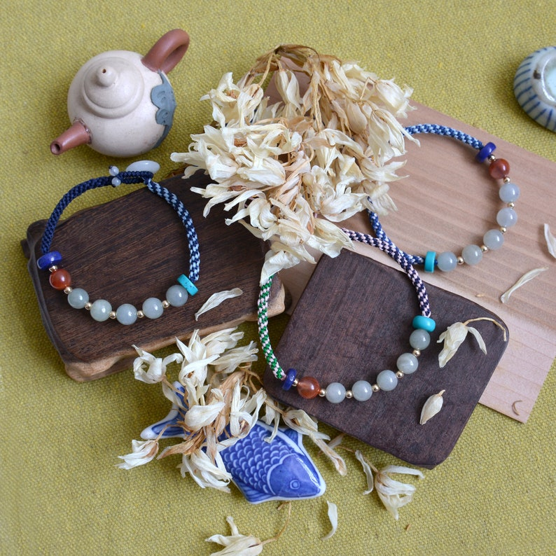 Blue knotted braceletstyle133B Traditional Chinese knotting art Jadeite Jade beads bracelet
