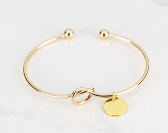 Gold Tie The Knot Bracelets for Women, Personalized Initial Charm Bracelet, Friendship Bracelet, Gift For Mom, Mother In Law Gift, Love Knot