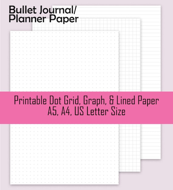 dot grid paper graph paper lined paper printable planner etsy