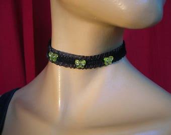 Choker Black Lace, pearls Butterfly lemon + rhinestones