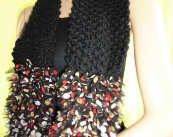 """Women scarf """"SEVILLA"""" black ruffle muticolore very couture"""