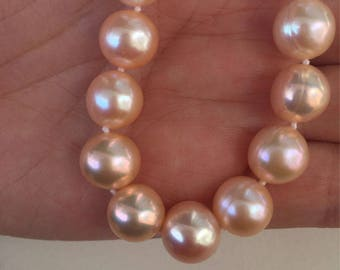 Orange Pearl Necklace 9-10mm /Champagne pearl Necklace