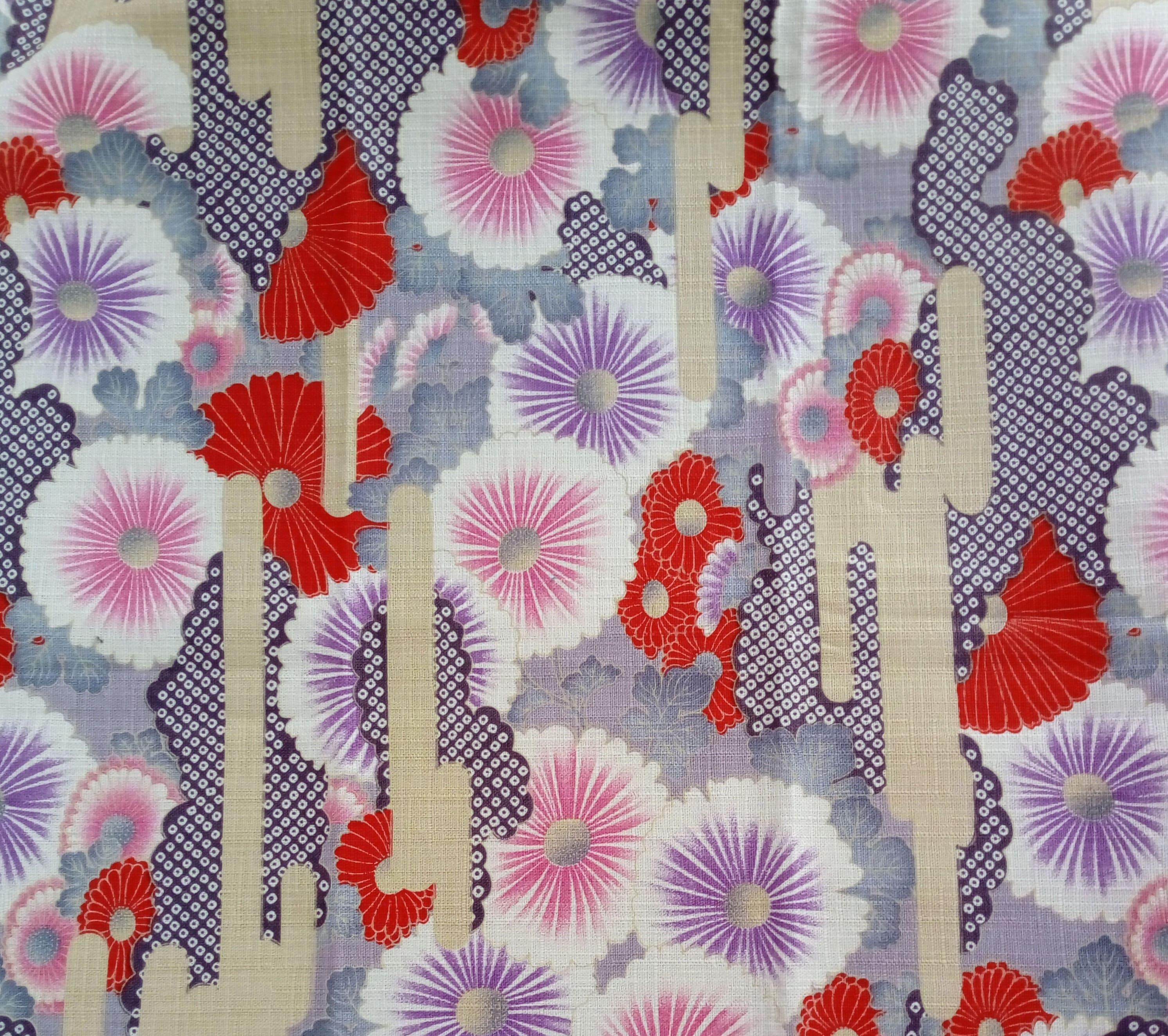 Japanese Fabric Flower Pattern Black Background Japanese Etsy