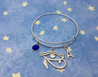 Egyptian God, Eye of Horus Bangle, Bracelet, Personalised initial, choose gem colour, Egyptian bracelet, Egyptian Jewelry,