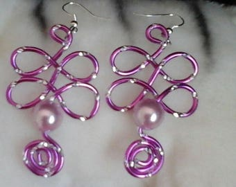 Engraved aluminum 2mm Lavender (purple 10mm) wire Plantalia earrings