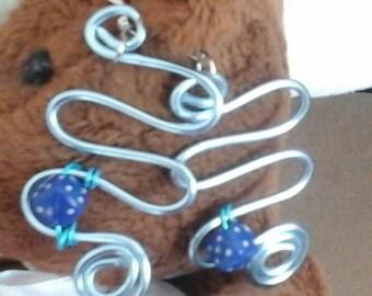 Runner earrings infinity wire aluminum 2mm blue glazed (very light blue)