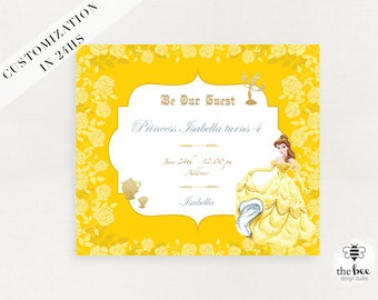 Beauty and Beast Birthday Invitation, Princess Bella Party, Customized