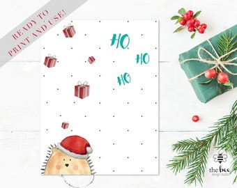 Merry Christmas Ho Ho Ho Card Printable. Tarjeta navideña imprimible