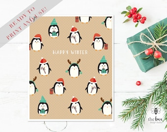 Merry Christmas Penguins Card Printable