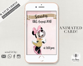 Minnie Mouse Video Invitation. Minnie Mouse Pink and Gold Invitation
